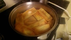 Tamales being cooked